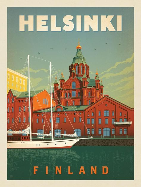 Anderson Design Group – World Travel – Finland: Helsinki Helsinki, Vintage Illustration, Travel Illustration, Tourism Poster, Vintage Travel Posters, Vintage Ski, Travel Aesthetic, Poster Prints, Web Design