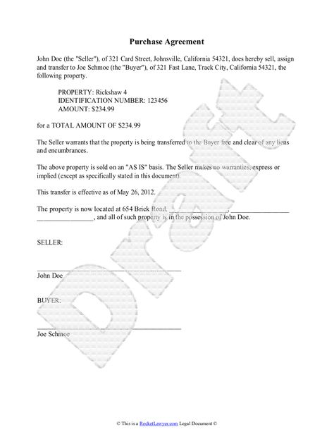 Purchase Agreement Template - Free Purchase Agreement - simple - sample generic bill of sale