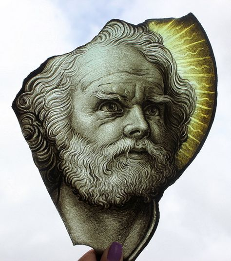 Antique Stained Glass Portrait, Saint or Apostle, Gothic Revival Face, Exquisite Male Head, Historic Church Window Fragment