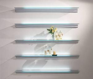 Support In Anodized Matt Silver Aluminum Hung To The Wall Transparent Tempered Glass Shelf Of 6mm T Glass Shelves Glass Shelves In Bathroom Glass Wall Shelves