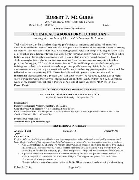 Chemistry Lab Technician Resume Beautiful Chemical Lab Technician Resume 6 10 2016 Laboratory Technician Lab Technician Chemistry Labs