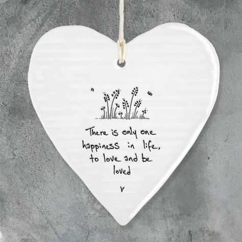 """East of India porcelain hanging heart """"There is only one happiness in life, to love and be loved"""" Size: 10 x 9 x 0.5cm"""