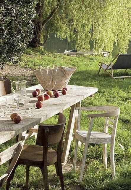 Großer Gartentisch Aus Altem Holz Slow Living