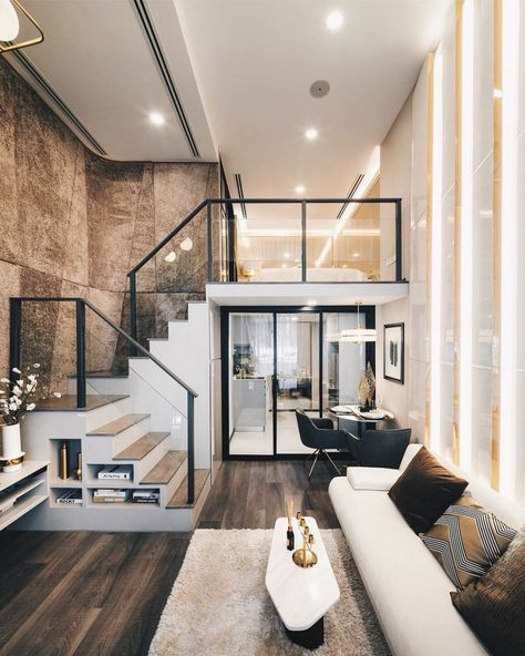 Loft apartment decorating - Luxurious Compact Modern Condo Apartment with Double Height Ceiling – Loft apartment decorating Modern Home Interior Design, Home Room Design, Dream Home Design, Tiny House Design, Modern House Design, Interior Architecture, Luxury Interior, Design Kitchen, Dream House Interior