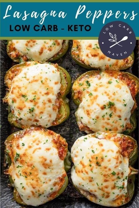 Easy stuffed peppers with ground beef, marinara sauce, ricotta & mozzarella cheese taste like lasagna. Bake this low carb recipe in the oven or cook in the crock pot. Make ahead instructions and tips for freezing included. Great for keto meal prep. via @lowcarbmaven