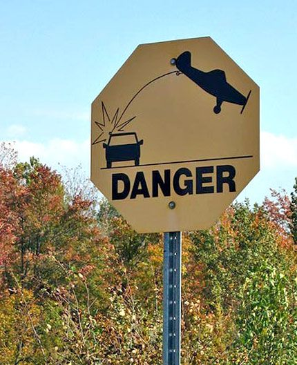 Stop!  Danger of Falling Landing Gear and Improbable Physics