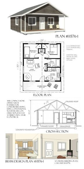 H576 1 24 X 30 Behm Design Small House Plans Tiny House Floor Plans House Plans