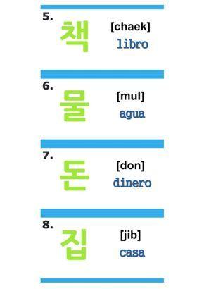 Chaek Mul Don Hb Palabras Coreanas Abecedario Coreano