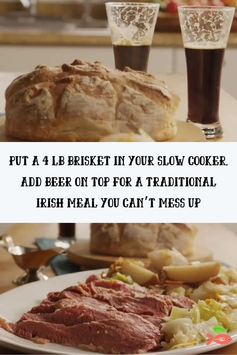 Put A 4 Lb Brisket In Your Slow Cooker. Add Beer On Top For A Traditional Irish Meal You Can't Mess Up