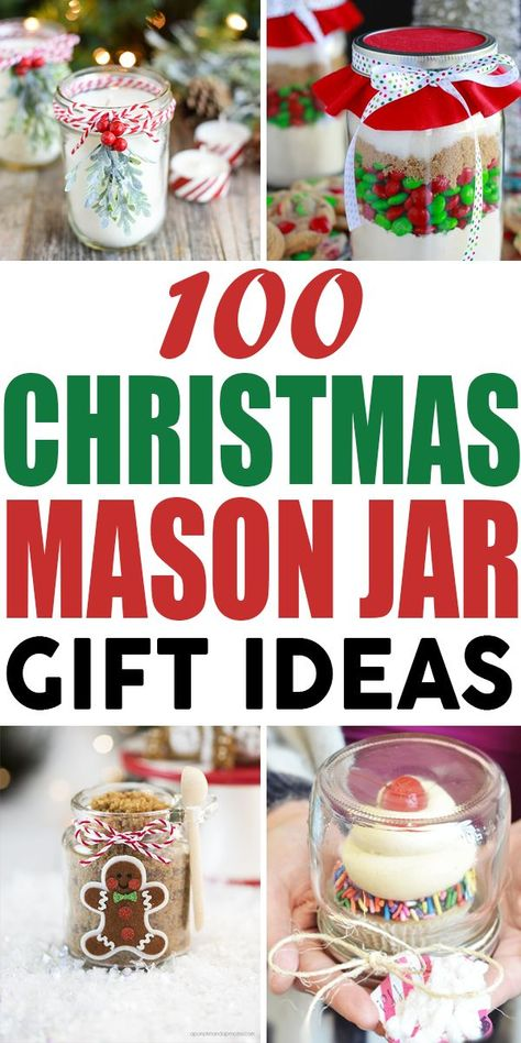 You will never run out of Christmas mason jar gift ideas! A list of 100+ mason jar gift and craft ideas.