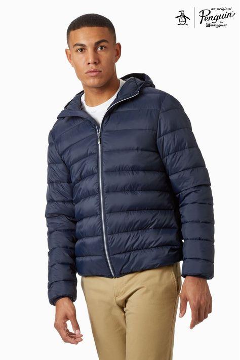 Original Penguin Mens Lightweight Hooded Puffer Jacket