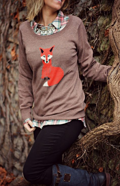 Fox sweater and flannel @Old Navy