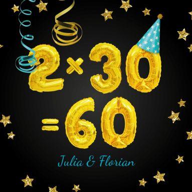 Super Einladungskarte Zum Gemeinsamen 30 Geburtstag Mit Goldenen