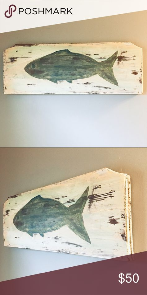 Hand painted Rustic Wood Fish Wall Art Hand painted Rustic Wood Fish Wall Art  Beautiful piece hand painted in a rustic distressed style.  Colors of blue and green on distressed white background. Handpainted Wall Art Art & Decals