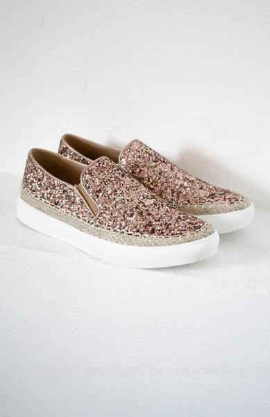 Rose Gold Glitter Slip On Shoes | Rose