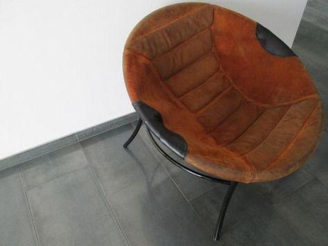 999 Zl Fotel Siedzisko Z Lat 70 Oryginalna Zamszowa Skorzana Tapicerka Ze Specjalnymi Przeszyciami Brazowy Stan Bardzo Dobry Ball Chair Saucer Chairs Chair