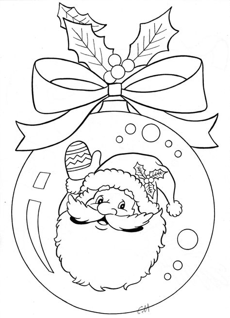 Disegni Di Babbo Natale Da Colorare Pallina Natalizia Con Fiocco
