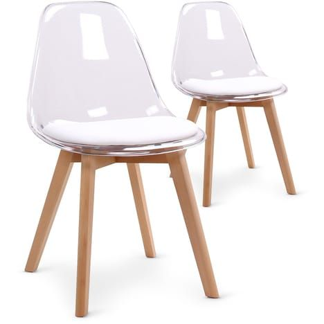 Menzzo Lot De 2 Chaises Scandinaves Bovary Plexi Chaise Design