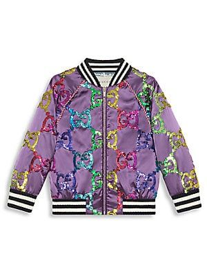 afeafabf9 Gucci Girl's GG Sequin Embroidered Satin Bomber Jacket | KIDS NEW ...