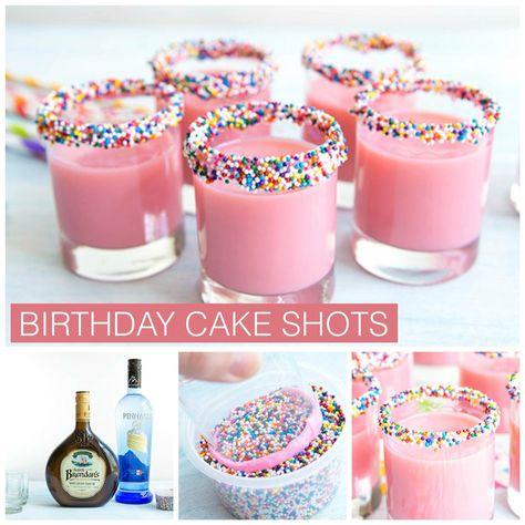 Bright pink shots that taste just like birthday cake! 21st Birthday Drinks, Birthday Cake Shots, 21st Birthday Themes, 21st Bday Ideas, Birthday Snacks, 21st Birthday Decorations, 21st Party, 21st Birthday Gifts, Cool Birthday Ideas