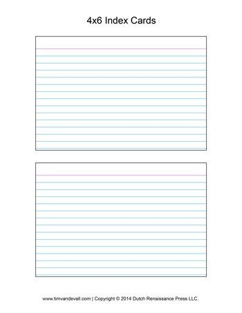 Printable Index Card Templates 3x5 And 4x6 Blank Pdfs Note Card