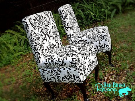 Black White Damask Chairs Pair 2 Of Beautiful By RedRhinoRevamp