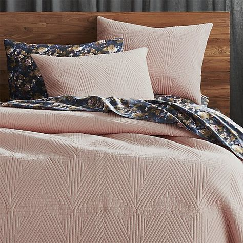 Modern Graphic Concentric Triangles Quilt A Fresh Texture On Soft Pink Cotton Comforting Mid Weight Cover Its Own Or Layer Duvet For Extra Warmth