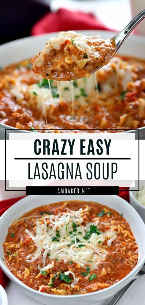 A quick Lasagna Soup recipe perfect for the cold weather! This hearty winter recipe has all your favorite lasagna flavors ready in just 30 minutes. Save this one-pot comfort food dinner meal for later!