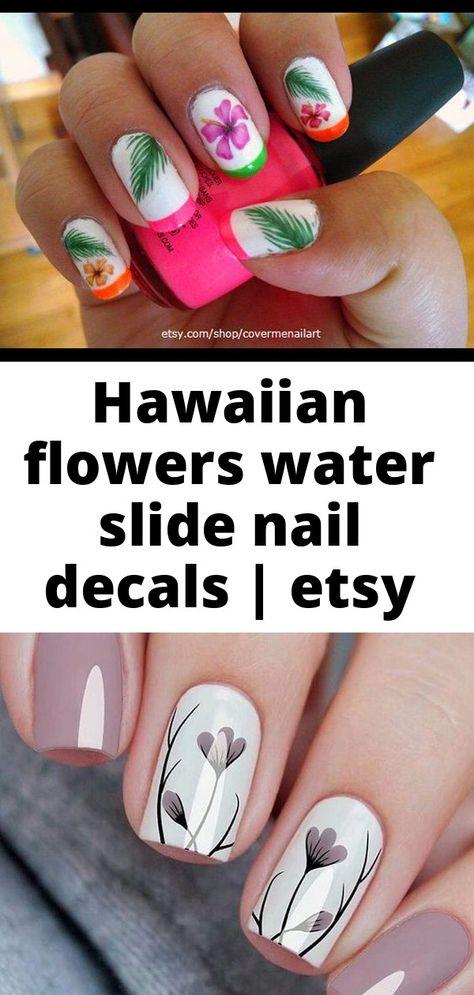 Hawaiian flowers water slide nail decals | etsy