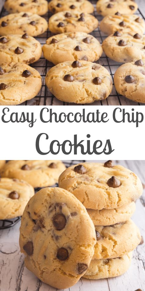 Thick Chocolate Chip Cookies, homemade, easy and full of chips, thick and delicious. Can't get any better than that. The Best Cookie! #cookies #chocolatechipcookies #chocolatechipcookiesrecipe #snack #breakfast #thickcookies #easychocolatechipcookies