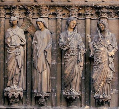 Annunciation and Visitation, jamb statues on the right side of the central doorway of the west facade, Reims Cathedral, Reims, France, ca. 1230-1255.