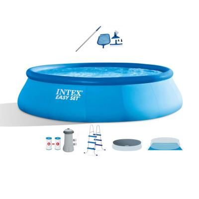 Intex 15 Ft X 42 In Round Inflatable Swimming Pool With Ladder Cover Pump Vacuum And Pole 26165eh 28002e The Home Depot Inflatable Swimming Pool Swimming Pools Above Ground Swimming Pools