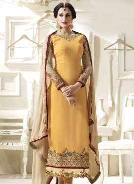 d22cc395142 Light Yellow georgette straight suit for haldi ceremony