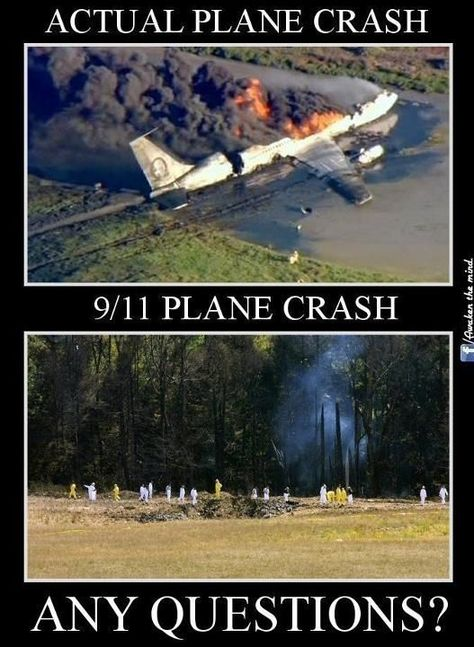 Flight 93 on 9-11-01 made a hole in the ground about 16x21 feet. About the size of what a missile would make when hitting the ground not a jet plane. Really Creepy!!!!: