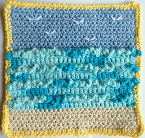 Seagulls Crochet Dishcloth ~ free pattern