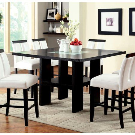 Furniture Of America Jalen Counter Height Led Dining Table In Black Walmart Com Leather Dining Room Dining Table Dining Room Table Set