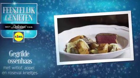 #Recept #Video voor Gegrilde ossenhaas met witlof, appel en rosevalkrieltjes van Ramon Beuk #Lidl #Kerst #Hoofdgerecht