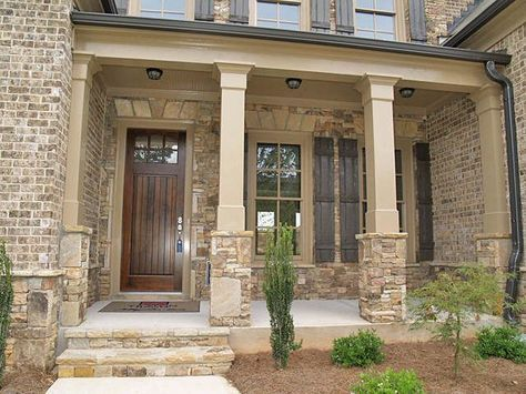 68 Ideas For House Brick And Stone Shutters Brick Exterior House Exterior Brick House Columns