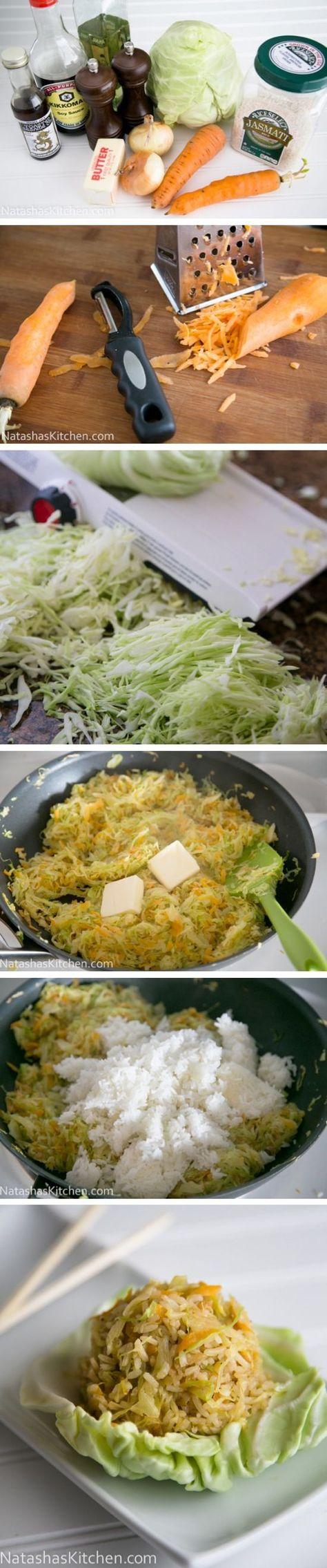 Repollo frito con arroz: 1 col, 1 zanahoria, 1 cebolla, (todo finamente picado), 2 cdas aceite, 3 tazas Arroz ya cocido, 2 cds mantequilla, 2 de Salsa de soja, 1 cdita aceite sésamo, sal y pimienta. Saltear las verduras en Wok 7-10´ moviendo constantemente. Añadir la mantequilla y el arroz cocido. Mezclar bien, agregar resto de ingredientes y servir - Cabbage Fried Rice http://natashaskitchen.com/2013/04/15/cabbage-fried-rice-recipe-and-100-giveaway/