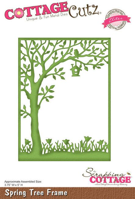 CottageCutz Spring Tree Frame (Elites) Die. Elite dies are one-cut, Made Easy intricate designs that do not require the use of ejection foam. The die has a spec