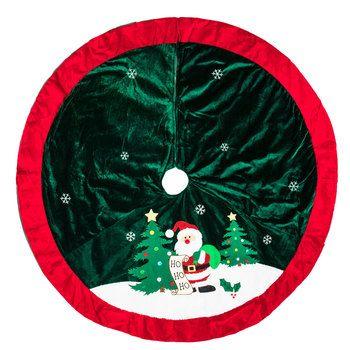 Santa With Pom Poms Tree Skirt Tree Decorations Christmas Tree