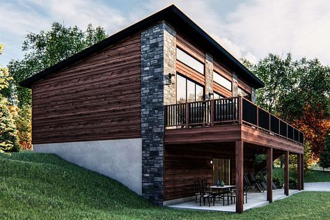 House Plan 963 00419 Lake Front Plan 1 014 Square Feet 2 Bedrooms 1 Bathroom In 2021 Modern Lake House Small Lake Houses Modern Cabin