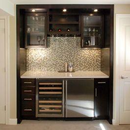 Small Wet Bar With Mini Fridge Sink Overhead Glass Cabinets And Backsplash