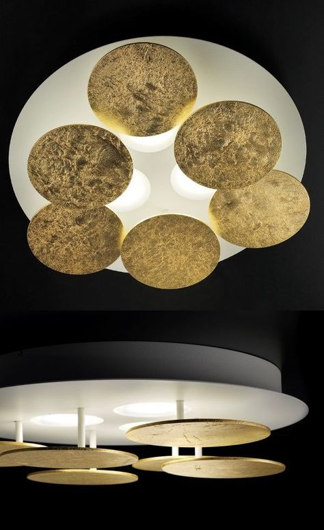 LED Decken Leuchte Wohn-Zimmer Metall Lampe Flur Rund Beleuchtung GOLD Farben