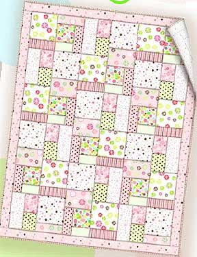 "Essential Flannel Quilt Pattern (Free) Small pastel fabrics can be used in so many ways like this simple baby quilt.  -- Download the free ""Essential Flannel"" quilt pattern (courtesy of Wilmington Prints)"