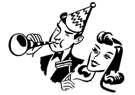Dibujo para colorear fiesta - Año Nuevo | Retro dibujos | Pinterest ...