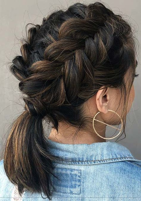 45 Elegant Ponytail Hairstyles for Special Occasions Braided Ponytail Idea for Medium Length Hair Curly Hair Styles, Medium Hair Styles, Natural Hair Styles, Hair Medium, Box Braids Hairstyles, Cool Hairstyles, Hairstyle Ideas, Elegant Hairstyles, Men's Hairstyle