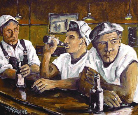 Tableau Peinture Hommes à Un Bar Scène Urbaine Amis Dans Un Bar