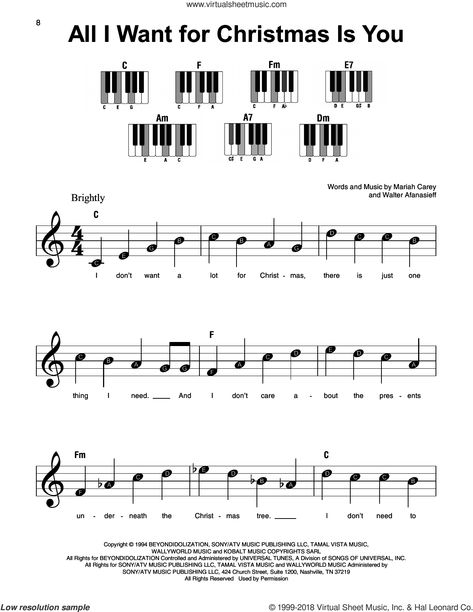 Carey All I Want For Christmas Is You Sheet Music For Piano Solo