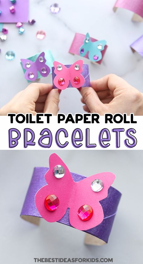 Toilet Paper Roll Butterfly Bracelets